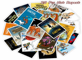 Foto van: Speelgoed 25pcs the adventures of tintin cartoon stickers for diy luggage laptop skateboard decal bi