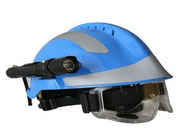 Foto van: Beveiliging en bescherming safety rescue helmet with headlamp and protective goggles fire fighter ab