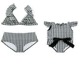 Foto van: Baby peuter benodigdheden plaid swimwear mother and daughter swimsuits mommy me clothes family look
