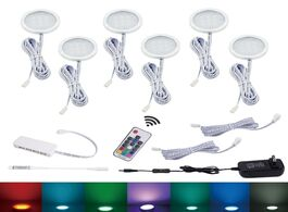 Foto van: Lampen verlichting aiboo led cabinet light 6 rgb lamp color changing puck lights dimmable under shel