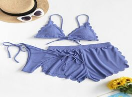 Foto van: Zwemkleding badmode threepiece swimsuits ribbed scalloped three pieces string bikini