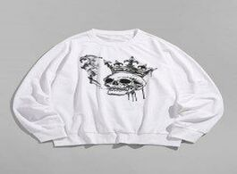 Foto van: Heren hoodies sweatshirts smoking skull crown print sweatshirt